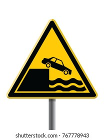 triangle warning traffic sign, car falls of the cliff, yellow