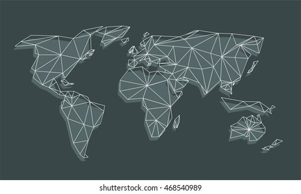 Triangle world map vector net triangles vector de stock468511172 triangle world map vector net of triangles with shadow on black background gumiabroncs Gallery