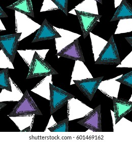 Triangles abstract seamless pattern. Grunge geometric shape elements. repeated backdrop in dark colors