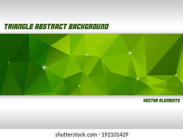 Triangles background. Vector abstract layout with green stripe of triangles.