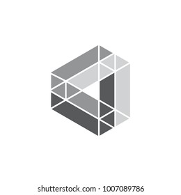 triangles object dimensional design logo vector
