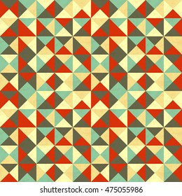 A lot of triangles in retro colours, abstract seamless pattern