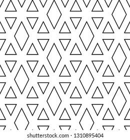 Triangles, rhombuses ornament. Polygons motif. Geometric background.Triangular, quadrangular shapes wallpaper.Geometrical backdrop. Seamless pattern. Digital paper, textile print, abstract