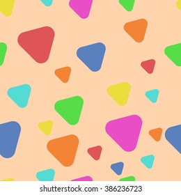 Triangles with rounded corners on a beige background. Seamless texture.