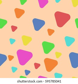 Triangles with rounded corners. Seamless pattern on the peach background.