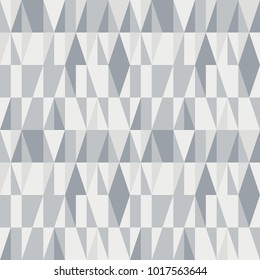 Triangles seamless pattern. Modern vector abstract geometric background with triangles in retro colors. Scandinavian nordic design style.