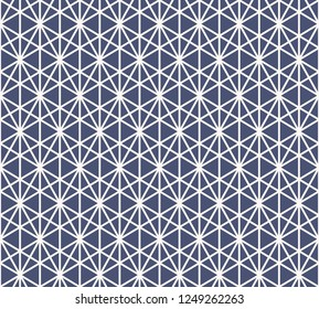 Triangles seamless pattern. Vector abstract geometric blue and white graphic texture. Simple background with triangular grid, hexagons, diamonds, net, mesh. Modern sacred geometry. Repeating design