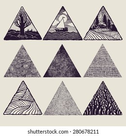 Triangles set. vector illustration.
