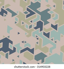 Triangles with shades and colors arranged in colorful pattern. Geometrical pattern with vintage colors. Abstract background texture.