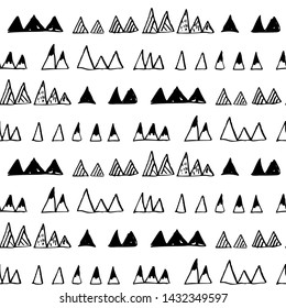 Triangles or stylized mountains backdrop. Hand drawn vector geometric seamless pattern in black on white background.
