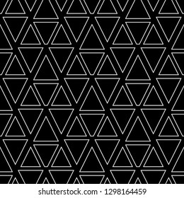 Triangles, trapeziums pattern. Geometrical figures wallpaper. Geometric background. Shapes backdrop. Polygons motif. Digital paper, abstract. Seamless ornament.