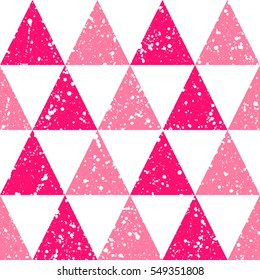 Triangles with white splash or blobs texture seamless vector pattern. Geometric abstract background. Pink triangles with uneven spots, specks, blots texture.