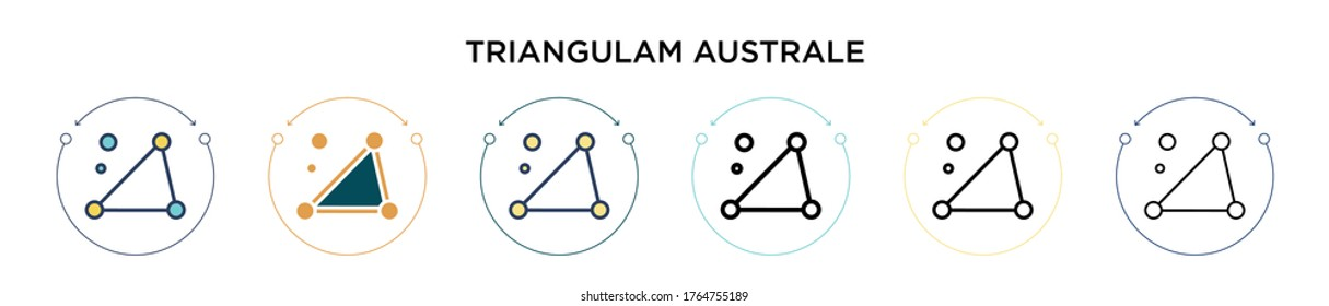 Triangulam australe icon in filled, thin line, outline and stroke style. Vector illustration of two colored and black triangulam australe vector icons designs can be used for mobile, ui, web