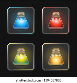 Triangular bottles of glowing liquid potion in different colors. Game icons of magic elixir. Icons set for the game interface or mobile app. Vector illustration.