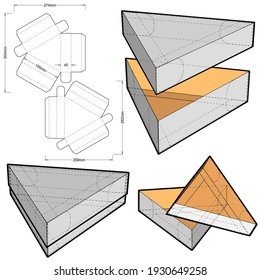 Triangular Box and Die-cut Pattern.  Ease of assembly, no need for glue . The .eps file is full scale and fully functional. Prepared for real cardboard production.