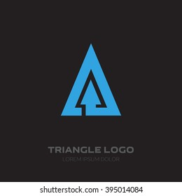 Triangular Business logo with arrow. Vector design element with arrow.