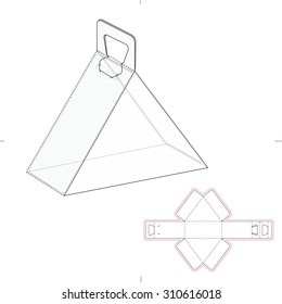 Triangular Carrying Box with Handle and Die Line Template
