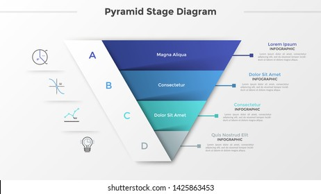 Triangular chart or pyramid diagram divided into 4 parts or levels, linear icons and place for text. Concept of four stages of project development. Infographic design template. Vector illustration.