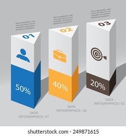 triangular columns data / vector element Infographic