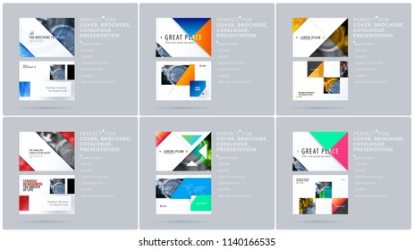 Triangular design presentation template with colourful triangles and diagonals. Abstract vector set of modern horizontal banners