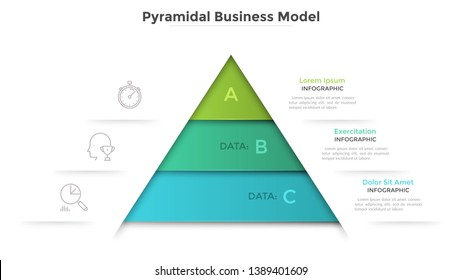 Triangular diagram divided into 3 levels. Concept of pyramid business model with three stages of development or progress. Modern infographic design template. Vector illustration for presentation.