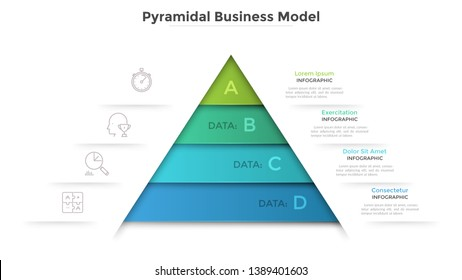 Triangular diagram divided into 4 levels. Concept of pyramid business model with four stages of development or progress. Modern infographic design template. Vector illustration for presentation.