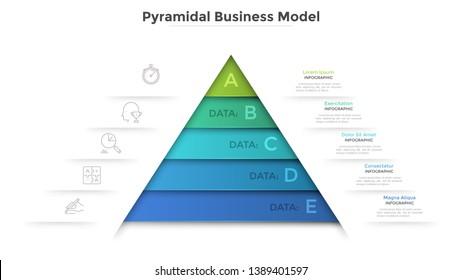 Triangular diagram divided into 5 levels. Concept of pyramid business model with five stages of development or progress. Modern infographic design template. Vector illustration for presentation.