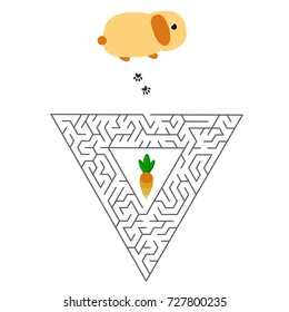 Triangular education Maze or labyrinth game for children with rabbit and carrot. Vector illustration. EPS 10