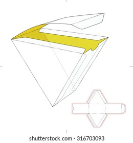 Triangular Fast Food Box  with Die Line Template