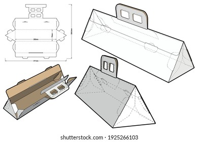 Triangular Folding Box With Handle and Die-cut Pattern. The .eps file is full scale and fully functional. Prepared for real cardboard production.