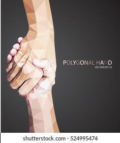 Triangular hold hands,help sign vector