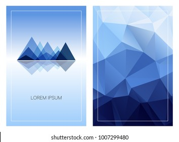 Triangular mountain ridges with vertical polygonal background. Set of geometric style cards template. Front and back page. Can be used for posters, flyers, brochures design, covers and digital banners