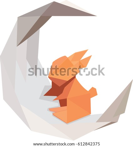 Triangular Origami Rabbit On Crescent Moon Stock Vector Royalty