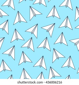Triangular paper plane. Origami triangle geometric contour line polygon style, travel summer seamless endless pattern.