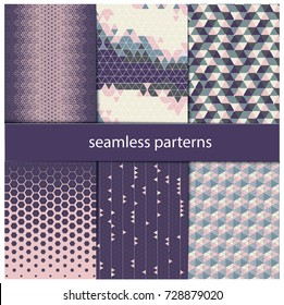 triangular paterns, hexagonal patterns, seamless parten, purple and rose colors, colors of clouds, violet, lilac, lavender