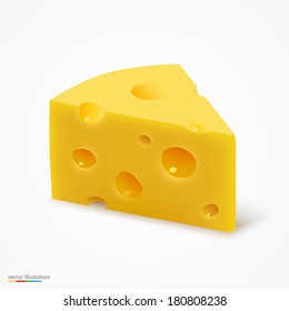 Triangular piece of cheese, cheese icon 3d, cheese realistic food, Vector illustration