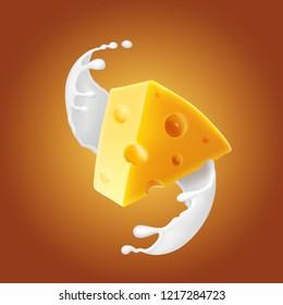 Triangular piece of cheese in milk splash