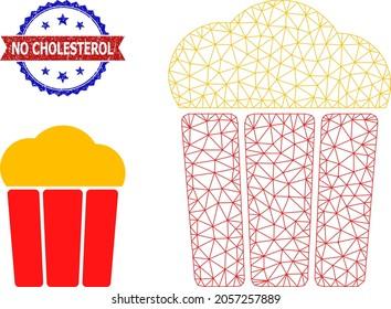 Triangular popcorn bucket framework icon, and bicolor unclean No Cholesterol watermark. Polygonal wireframe image designed with popcorn bucket pictogram.