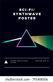 Triangular Prism breaks white light ray into rainbow spectral colors. Poster, vector illustration. Synthwave/ retrowave style.