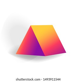triangular prism - One 3D geometric shape with holographic gradient isolated on white background, figures, polygon primitives, maths and geometry, for abstract art or logo, vector illustration