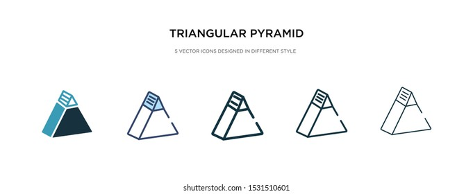 triangular pyramid icon in different style vector illustration. two colored and black triangular pyramid vector icons designed in filled, outline, line and stroke style can be used for web, mobile,