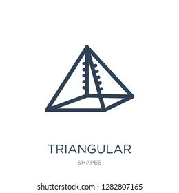 triangular pyramid volumetrical shape icon vector on white background, triangular pyramid volumetrical shape trendy filled icons from Shapes collection
