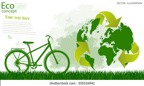 Triangular recycling symbol around the globe. The bike on the grass near the tree silhouette, on a white background. Environmentally friendly world. Vector illustration of ecology concept info graphic