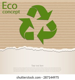 The triangular recycling symbol on the background of torn cardboard paper. Vector illustration.