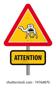 Triangular road sign with warning for crossing camels, vector illustration