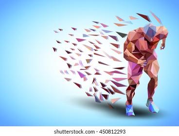 triangular Runner on blue background