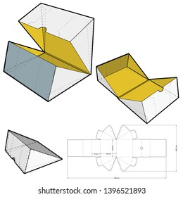 Triangular Self Assembly Packaging and Die-cut Pattern. The .eps file is full scale and fully functional. Prepared for real cardboard production.