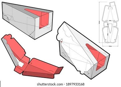 Triangular Self Assembly Packaging (eco-friendly no glue needed) and Die-cut Pattern. The .eps file is full scale and fully functional. Prepared for real cardboard production.