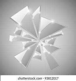 Triangular shards of the broken glass. Eps 10