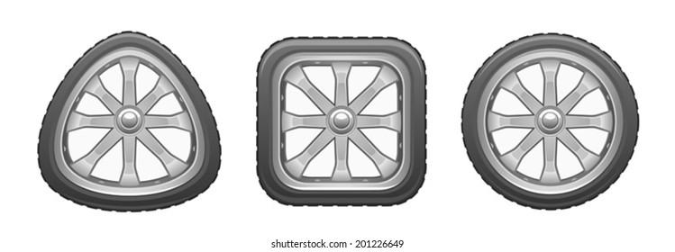 Triangular square round wheel